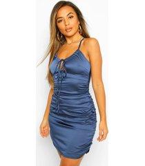 petite satin ruched tie front bodycon dress, dark blue
