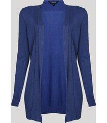 capa feminina alongada em tricô azul médio