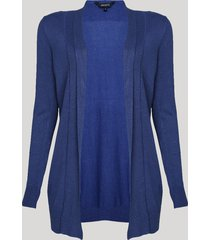 capa feminina alongada em tricô azul