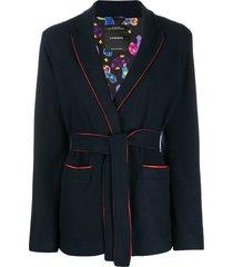 canessa short belted waist jacket - blue