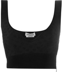 alexander mcqueen embossed crop tank top - black
