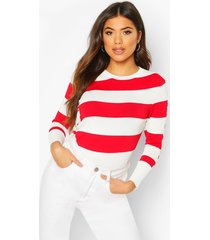 stripe knit sweater, white