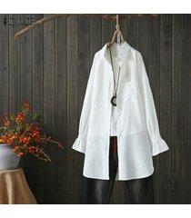 zanzea botones de manga larga para mujer camisa casual lisa tops blusa con cuello vuelto -blanquecino