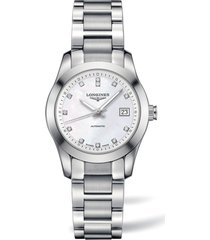 women's longines conquest classic automatic bracelet watch, 29.5mm