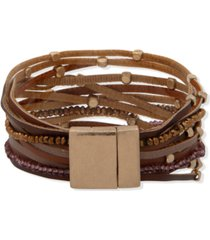 lonna & lilly gold-tone beaded & faux-leather multi-row magnetic bracelet