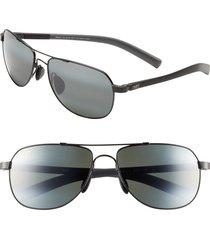 maui jim maui flex polarizedplus(r)2 56mm aviator sunglasses in gunmetal/black/grey at nordstrom