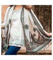 jamawar wool shawl, 'floral waves' (india)