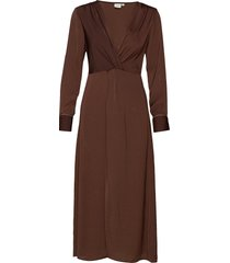 christy dress knälång klänning brun cream