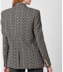 balmain women's oversized 6 button monogram jacket - ivoire/noir - fr 38/uk 10
