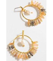 adley beaded circle drop earrings - pale pink