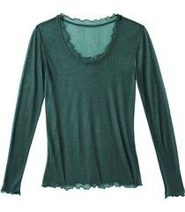 shirt met lange mouwen en ronde hals uit biologische zijde, smaragd 44/46