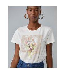 amaro feminino t-shirt romantic flowers, off-white