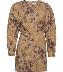 brocade jacquard korte jurk bruin ganni