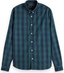 overhemd regular fit ruit navy/groen (152152 - 0221)