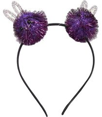 tiara le pompom bichos lilás