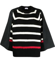 red valentino panelled batwing-sleeve top - black