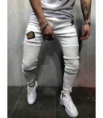hombres casual blanco estampado de letras ripped skinny jeans
