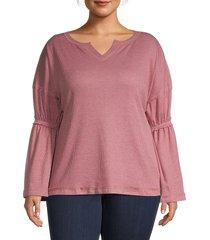 baea women's flare-sleeve top - blush - size 3x (22-24)
