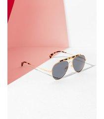 tommy hilfiger women's modern aviator sunglasses rose gold havana spotted -
