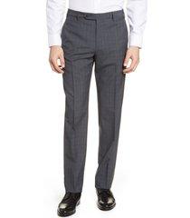 men's zanella devon flat front wool dress pants, size 40 - grey