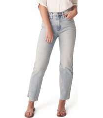 women's silver jeans co. highly desirable high waist fray hem straight leg jeans, size 30 x 28 - blue