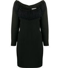 moschino pre-owned 1990s tassel details fitted dress - black