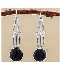 obsidian dangle earrings, 'eyes of the universe' (peru)