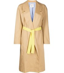 semicouture long sleeve belted waist coat - neutrals