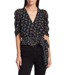 bailey 44 women's lilian printed puff-sleeve wrap top - size xs