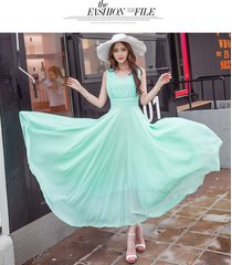pf253 sexy deep v sleeveless chiffon swing dress  size s-xl, light green