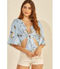 yoins blue floral print deep v cuello anudado diseño crop top