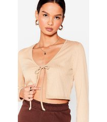 womens tie it out ribbed crop top - stone