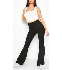 basic geribde broek met uitlopende pijpen, zwart