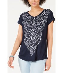 style & co graphic-print v-neck top, created for macy's