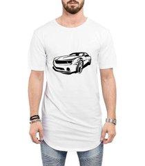 camiseta criativa urbana long line oversized super carros masculina