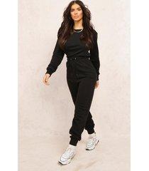 mix & match edition sweat jogger jumpsuit, black