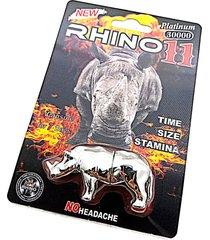 rhino 11 platinum 30000 - 3d rhino capsule case - male sexual enhancer - 1 pack