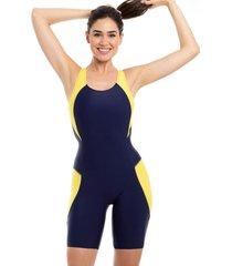 traje de baño deportivo con piernas amarillo samia