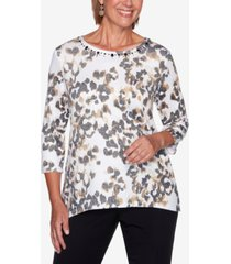 alfred dunner petite catwalk animal-print knit top
