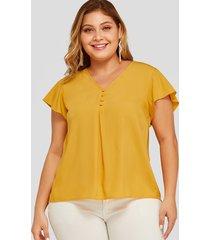 plus blusa plisada amarilla con cuello en v talla