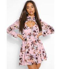 bloemenprint skater jurk met hoge hals en uitsnijding, blush