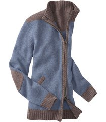 bicolor-gebreide jas uit bio-scheerwol, jeans xxl