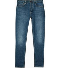 mens blue mid wash stretch skinny jeans