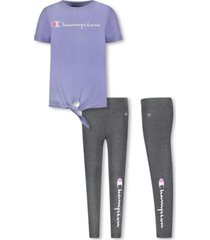 little girls tie front tee and legging set