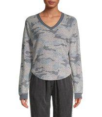 vintage havana women's camo fleece sweater - grey camo - size l
