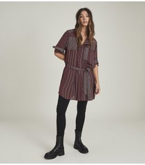 reiss albi - striped shirt dress in berry/ivory, womens, size 14