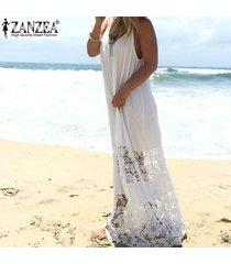 zanzea vestido de encaje para mujer 2018 verano casual vestido largo largo suelto vestidos de playa sexy sin mangas vestidos sólidos tallas grandes xs-5xl blanco -blanco