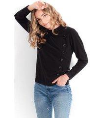 sweater para mujer cuello redondo, manga larga, taches laterales color-azul-talla-xs