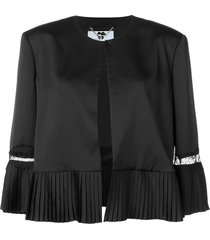 blumarine pleated detail jacket - black