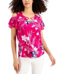 jm collection printed crisscross-neck top, created for macy's